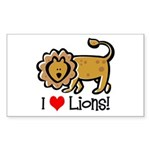I Love Lions Rectangle Sticker