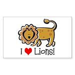 I Love Lions Rectangle Sticker