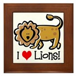 I Love Lions Framed Tile