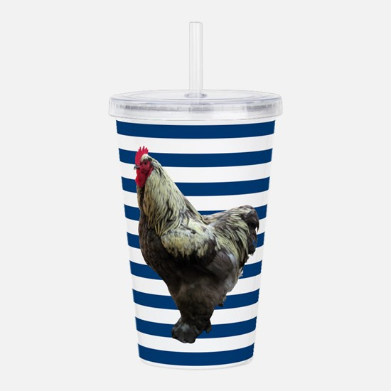 Rooster on Blue Stripes Acrylic Double-wall Tumble