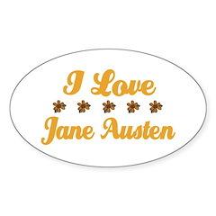 I Love Jane Austen Oval Decal