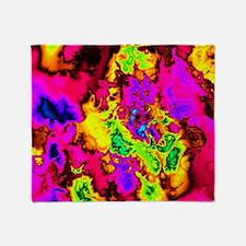 Powerfractal pink Throw Blanket