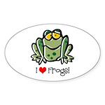 I Love Frogs Oval Sticker