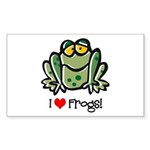 I Love Frogs Rectangle Sticker