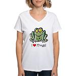 I Love Frogs Women's V-Neck T-Shirt