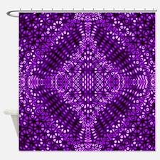 Purple Diffraction Pattern Shower Curtain