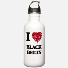 I Love Black Belts Water Bottle
