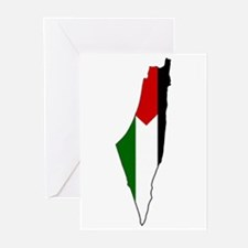 Palestine Flag Map Greeting Cards