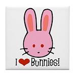I Love Bunnies Tile Coaster