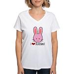 I Love Bunnies Women's V-Neck T-Shirt