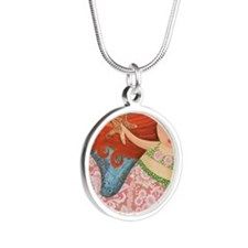 redheaded mermaid Silver Round Necklace