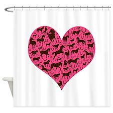 Horse Heart Art Brown Pink Shower Curtain