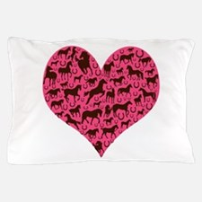 Horse Heart Art Brown Pink Pillow Case