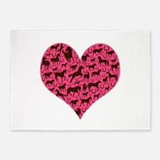 Horse Heart Art Brown Pink 5'x7'Area Rug