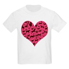 Horse Heart Art Brown Pink T-Shirt
