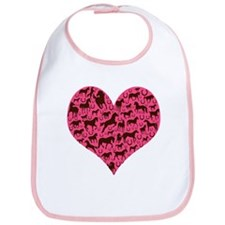 Horse Heart Art Brown Pink Bib