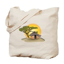African Hut In Sunset Tote Bag
