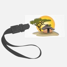 African Hut In Sunset Luggage Tag