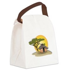 African Hut In Sunset Canvas Lunch Bag