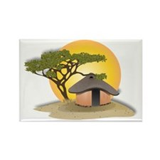 African Hut In Sunset Magnets