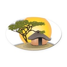 African Hut In Sunset Oval Car Magnet