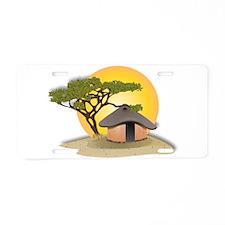 African Hut In Sunset Aluminum License Plate