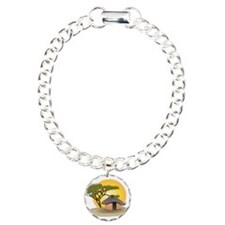 African Hut In Sunset Charm Bracelet, One Charm