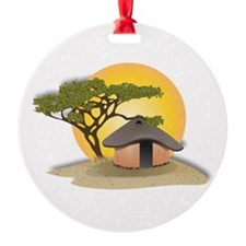 African Hut In Sunset Ornament