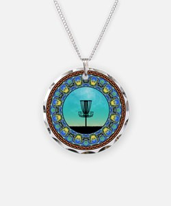 Disc Golf Abstract Basket 5 Necklace
