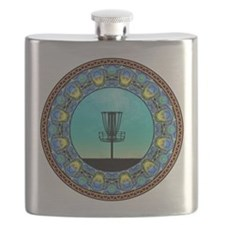 Disc Golf Abstract Basket 5 Flask