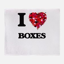 I Love Boxes Throw Blanket