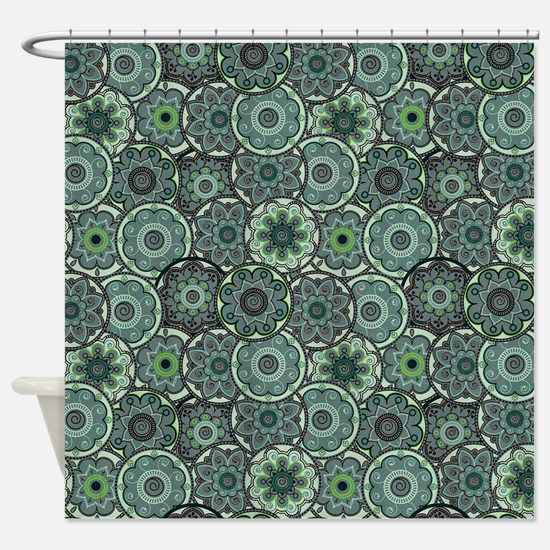 Green Paisley Circles Shower Curtain