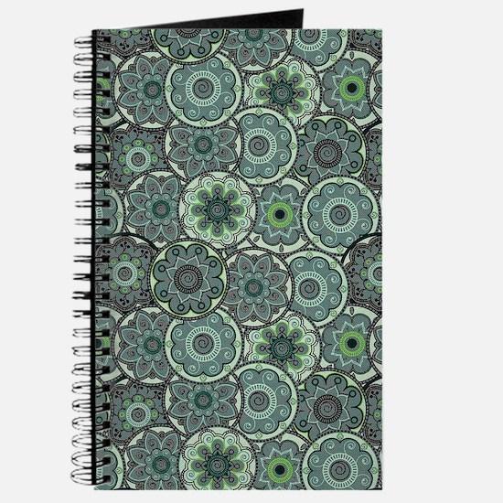 Green Paisley Circles Journal