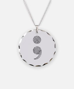 Patterned Semicolon Necklace Circle Charm