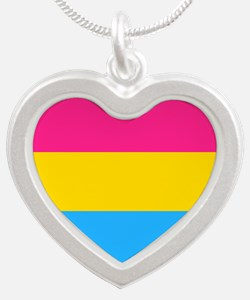 Pansexual Pride Flag Silver Heart Necklace