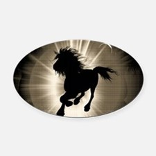 Horse silhouette Oval Car Magnet