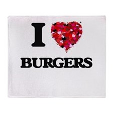 I Love Burgers Throw Blanket