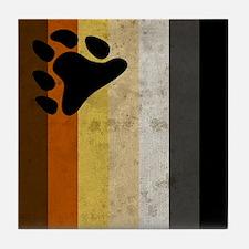 Vintage Bear Pride Flag Tile Coaster