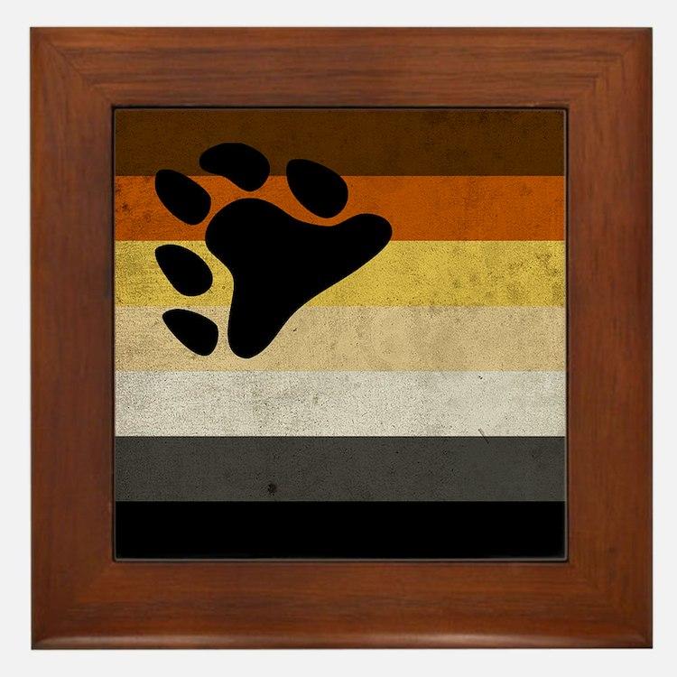 Vintage Bear Pride Flag Framed Tile