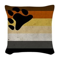 Vintage Bear Pride Flag Woven Throw Pillow