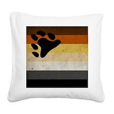 Vintage Bear Pride Flag Square Canvas Pillow
