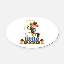 Cowboy Little Brother Oval Car Magnet