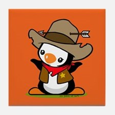 Cowboy Popo Penguin Tile Coaster