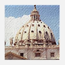 Rome Italy Vatican Watercolor Art Tile Coaster