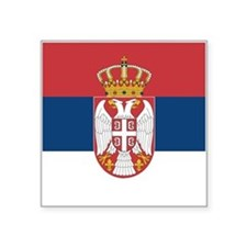 "Serbia Flag Square Sticker 3"" x 3"""