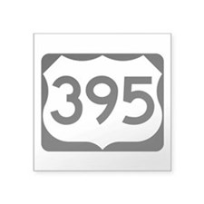 "Us Route 395 Square Sticker 3"" X 3"""