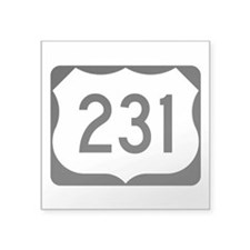 "Us Route 231 Square Sticker 3"" X 3"""