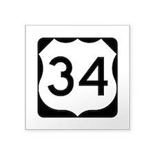 """Us Route 34 Square Sticker 3"""" X 3"""""""