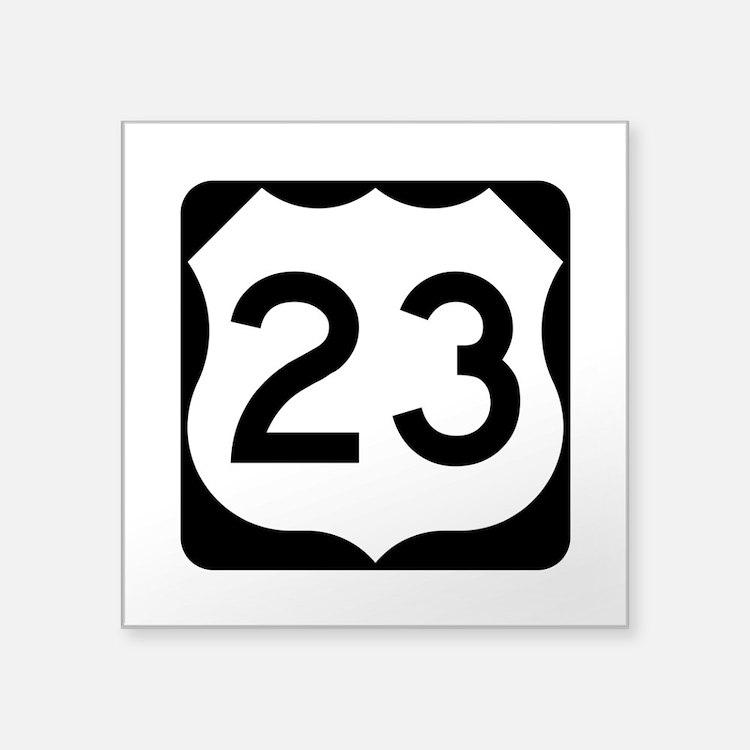 """Us Route 23 Square Sticker 3"""" X 3"""""""