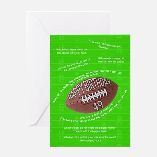 49th birthday, awful football jokes Greeting Cards